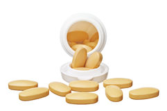 Pot With Oval Pills Stock Photo