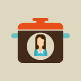Pot woman icon Stock Images