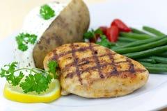 pota grillé par vert cuit au four de poulet de sein d'haricots photo stock