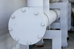 Potable water piping with flange, stud, bolt Stock Images