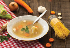 Potage au poulet Photographie stock