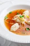 Potage au poulet avec des nouilles et des légumes dans la cuvette blanche Image libre de droits