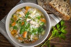 Potage au poulet avec du riz et des légumes Photos libres de droits