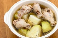 Potage au poulet avec le melon d'hiver Photo libre de droits