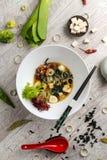 Potage aux légumes avec de la viande, des nouilles et des légumes dans un plat blanc photos libres de droits