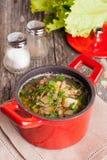 Potage aux légumes avec des lentilles, plan rapproché Images libres de droits