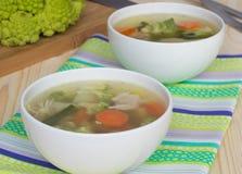 Potage aux légumes avec le chou de romanesco Photographie stock libre de droits