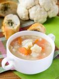 Potage aux légumes avec le chou-fleur et les raccords en caoutchouc Images stock