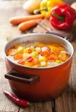 Potage aux légumes dans le bac image stock