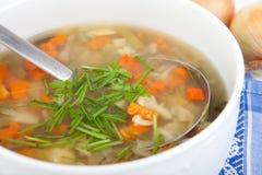 Potage aux légumes dans le bol de soupe blanc, plongeur argenté à l'intérieur Image libre de droits