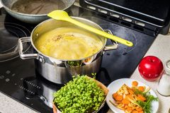 Potage aux légumes de ébullition mélangé dense dans le pot sur le cuiseur Photos libres de droits