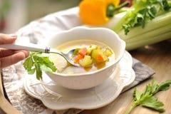 Potage aux légumes, nourriture d'été avec des vitamines Copiez l'espace photos libres de droits