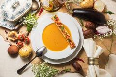 Potage aux légumes sur le parchemin Image libre de droits