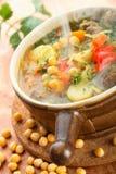 Potage avec des becs d'ancre et des légumes Image stock