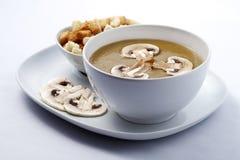 Potage crème avec des champignons de couche Photos stock