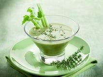 Potage crème de céleri avec le thymus image stock