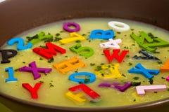 Potage d'alphabet Image libre de droits