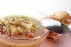 potage d'oignon dans une cuvette en verre photographie stock libre de droits