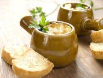 potage d'oignon savoureux photo stock