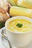 Potage de maïs et de persil Photographie stock libre de droits