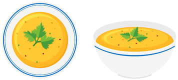 Potage de potiron dans la cuvette illustration stock