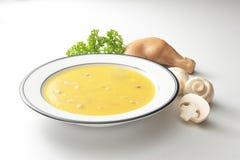 Potage de poulet de champignon de couche Images libres de droits