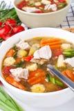 Potage de poulet et aux légumes Photographie stock libre de droits
