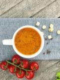 Potage de tomate avec les ingrédients frais dans une cuvette de potage photographie stock libre de droits
