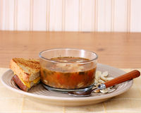 Potage et sandwich Image stock