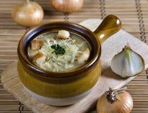 Potage français d'oignon Image stock