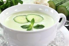 Potage glacé de concombre avec l'ail Image stock