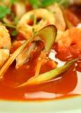 Potage méditerranéen de fruits de mer Photo libre de droits