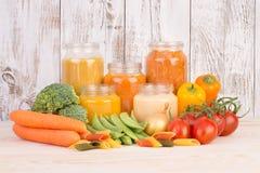 Potages aux légumes pour un bébé Photographie stock