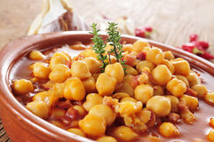 Potaje de garbanzos con jamon, spanish chickpeas stew with ham Stock Image