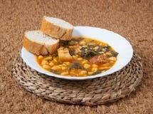 Potaje de Garbanzos y espinacas. Spanish cuisine. Stock Photo