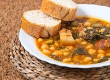 Potaje de Garbanzos y espinacas. Spanish cuisine. Royalty Free Stock Photography