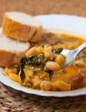 Potaje de Garbanzos y espinacas. Spanish cuisine. Royalty Free Stock Image