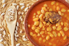 Potaje de judias y garbanzos, a traditional spanish legume stew Royalty Free Stock Images
