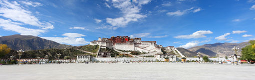 POTALA with blue sky. The Potala, the traditional but deserted, residence of the Dalai Lama in Lhasa, Tibet Stock Image