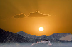 Potala in Lhasa in sunset Stock Photos