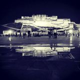 Potala. In the night reflection royalty free stock image
