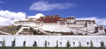 Potala Palace. It is potala palace in Tibet of China.with blue sky. it is a historic building.(use Koda positive film E100vs Stock Photos