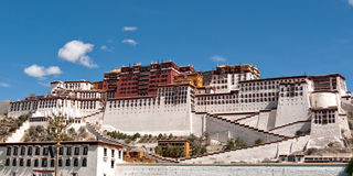 Potala palace against a blus sky in Lhasa, Tibet Royalty Free Stock Photos