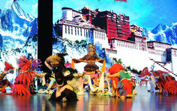 "The Potala Palace before the celebration-Large scale scenarios show"" The road legend"". The drama about a Han Princess and king of Tibet Song Xan Gan stock photo"