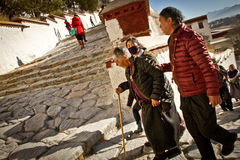 Potala Palace Devotees walk steps in Lhasa Tibet Royalty Free Stock Image