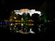 Potala Palace Inverted Image. Lhasa Potala Palace Inverted Image at night in Tibet Stock Image