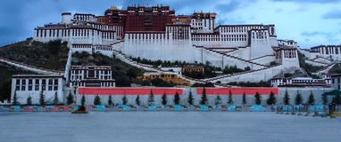 Potala Palace in Lhasa at blue hour view from town square, Tibet Autonomous Region. Former Dalai Lama residence, now is a museum. And World Heritage Site stock photos