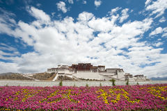 Potala palace in Lhasa with flower decoration. In front commemorating the '60th aniversary of the peaceful liberation of Tibet Stock Photography
