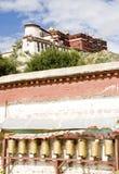 Potala palace, Lhasa, Tibet. Pray wheels at the wall of Potala palace, Lhasa, Tibet Royalty Free Stock Photography