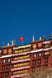 Potala Palace Lhasa Tibet with Chinese flag Royalty Free Stock Image